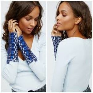 Free People Blue Thermal Embroidered cuff Top